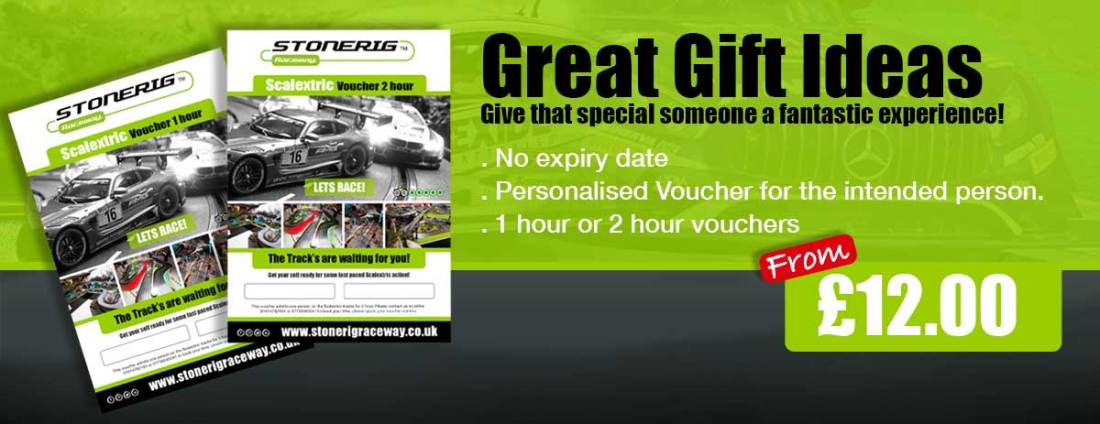 Scalextric gift vouchers for 1 hour or 2 hour's
