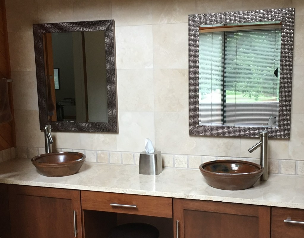 Stone countertops vanity tops the stone shop travertine vanity top floor and tile wall dailygadgetfo Choice Image