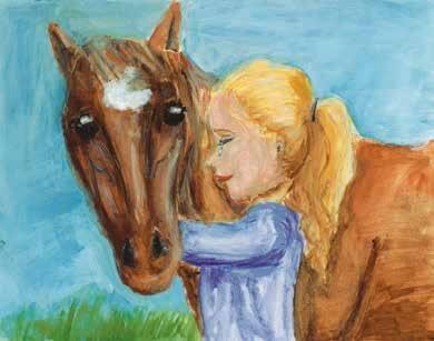 Judah hugging a horse