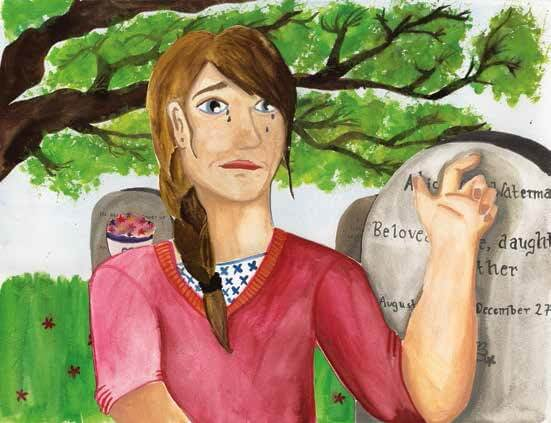 believing girl crying by the grave