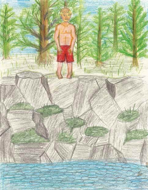The leap boy standing at the edge of a cliff