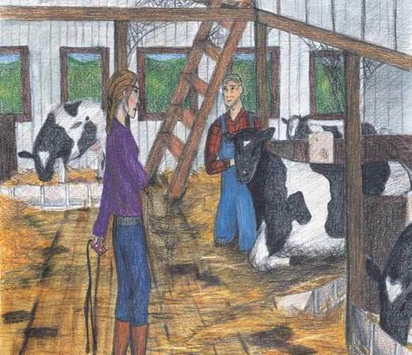 Photos in the Hayloft in a barn with cows