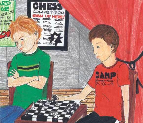 Camp Conflict boys playing chess