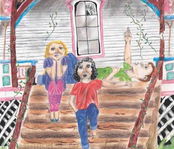 The Ghost Children talking in the porch of a house