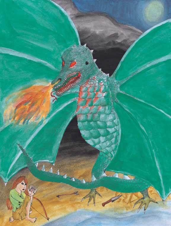 The Lily Hair Clip green dragon