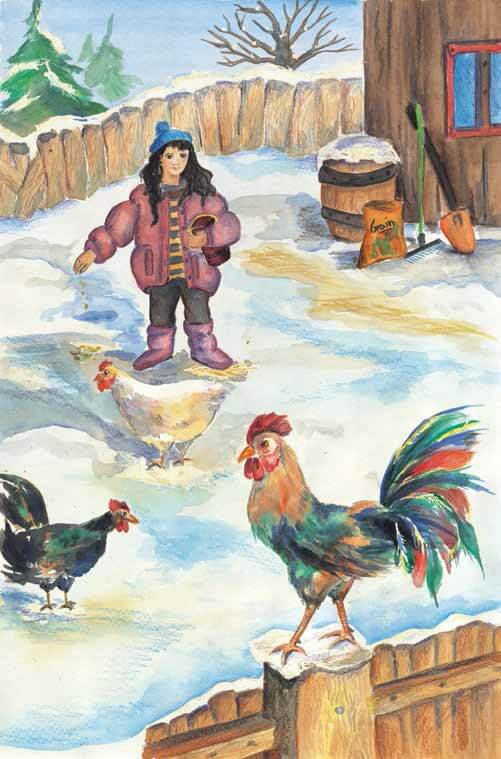 The Scarlet King feeding the chickens