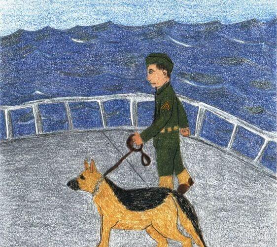 A Dog of War holding a dog