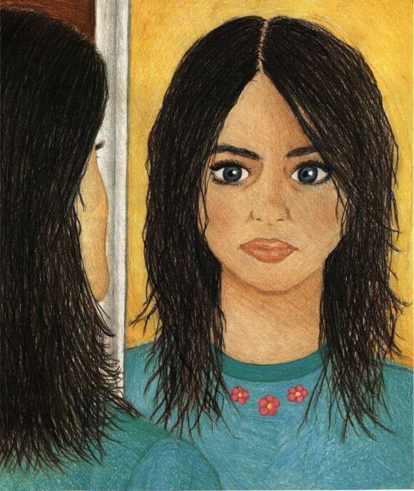 Paintings looking at herself