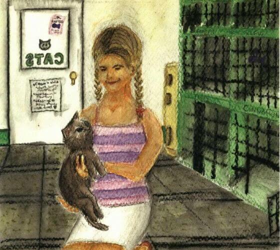 A Hidden Love picking up a cat