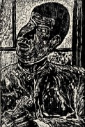 A woodcut print of a pensive person.