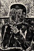 A woodcut print of a person holding a pencil.