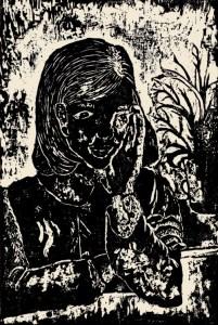 The Friend I Trust, Fumie Hirosue, age 13. Woodcut.