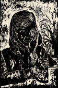 A woodcut print of a girl leaning on a fence.