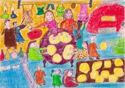 Baking Bread at Home, by Saben Hassan El Sharkawi, age 14, Egypt