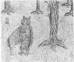 The Enchganted Egg owl standing