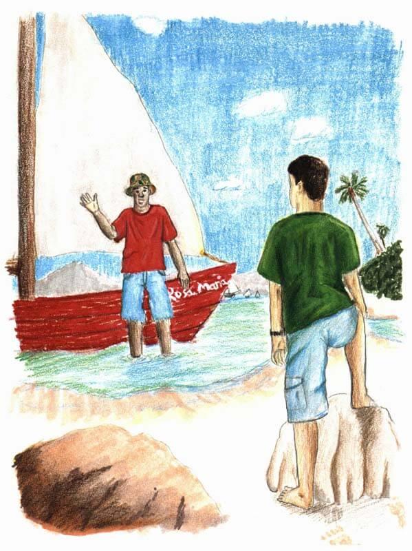 a scrap of orange cloth two guys in the beach