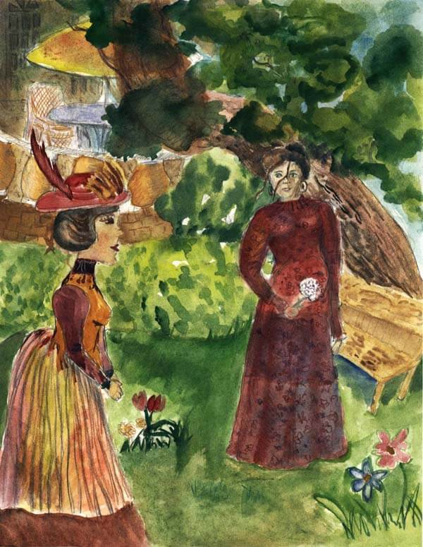 mrs will baker two ladies in the garden talking