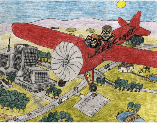 Red Comet flying an airplane