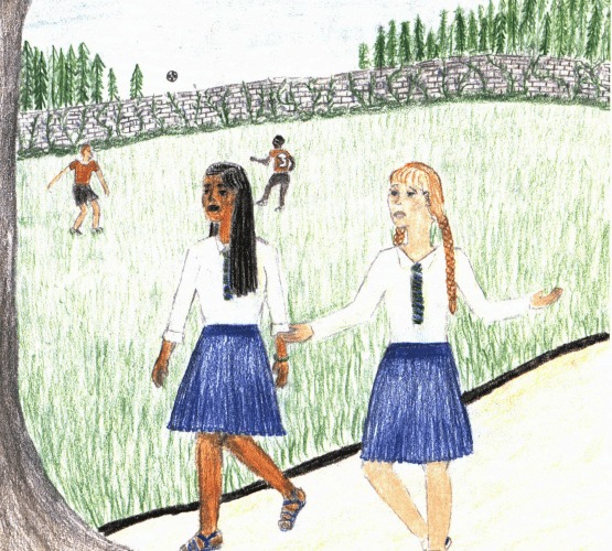 A Parting Gift two girls walking