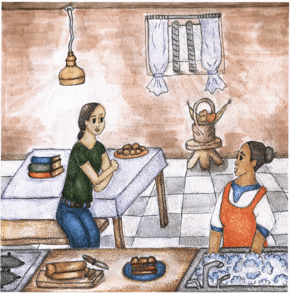 The Burden of Words mother and daughter talking in the kitchen