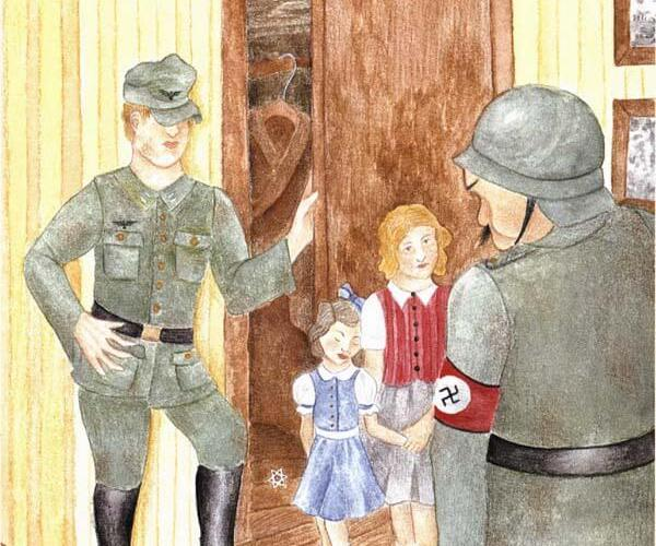 Star of David two Nazi soldier suspects two girls