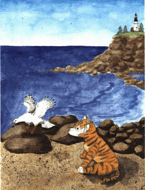 Stripes a seagull and a stuffed tiger