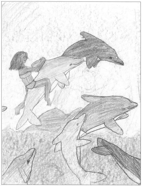 Hawaiian Hurricane girl with dolphins