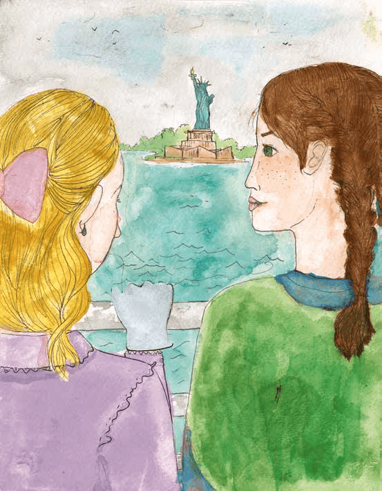 Finally Free (Maybe?) girls looking at statue of liberty
