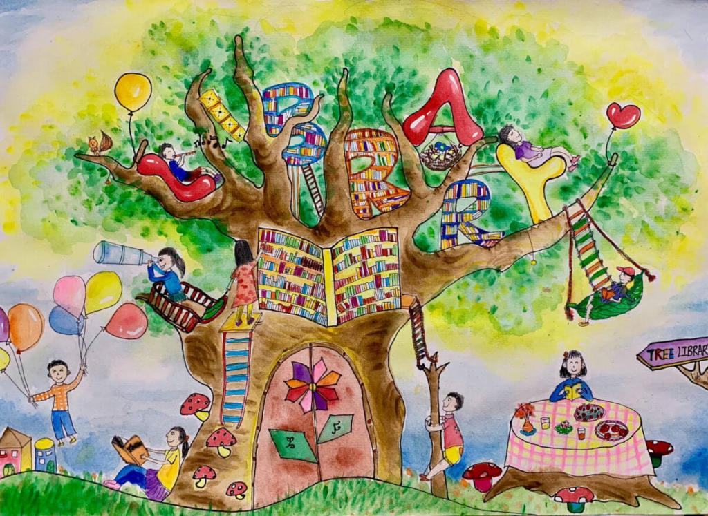 Artwork in watercolor of a tree with books and children