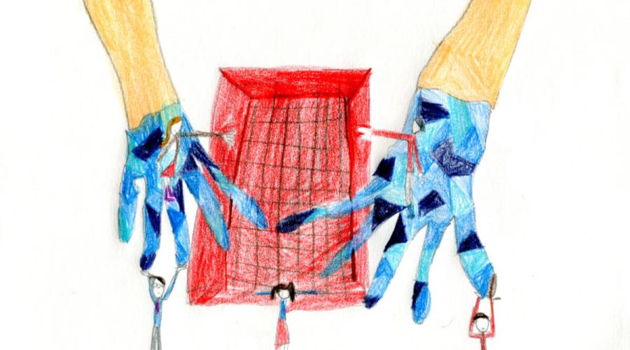 A metaphorical pencil crayon drawing showing gloved hands keeping two people apart.
