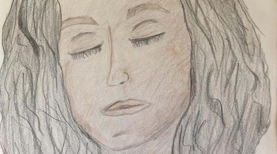 A pencil crayon drawing of a lonely girl, isolated during the Covid-19 pandemic.