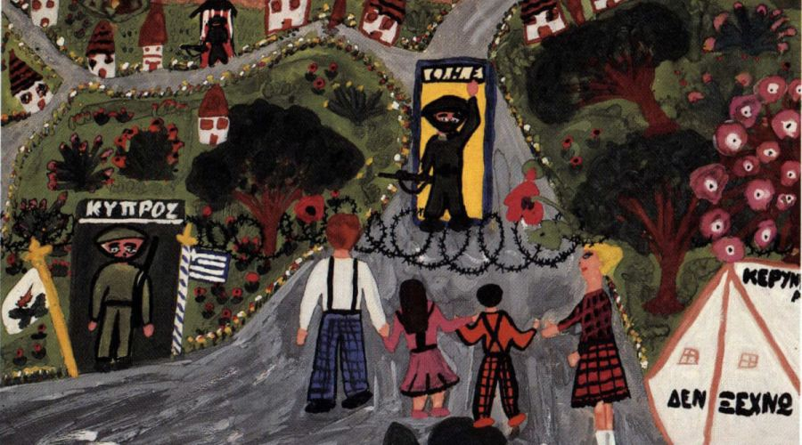 Painting of family holding hands in front of checkpoint on the island of Cyprus.
