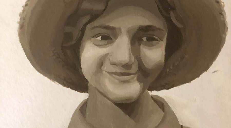 An acrylic painting in black-and-white of a girl wearing a hat.