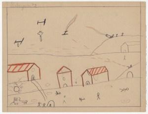 Children and War -- Spanish Civil War 1936-1936 Children's Drawing of Bombing Raid