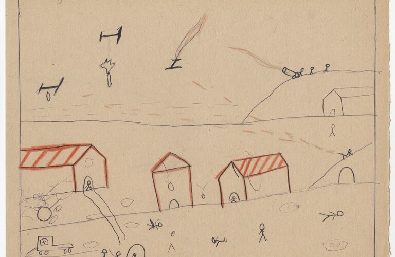 Children and War -- Spanish Civil War 1936-1936 Children's Drawing of Bombing Raid