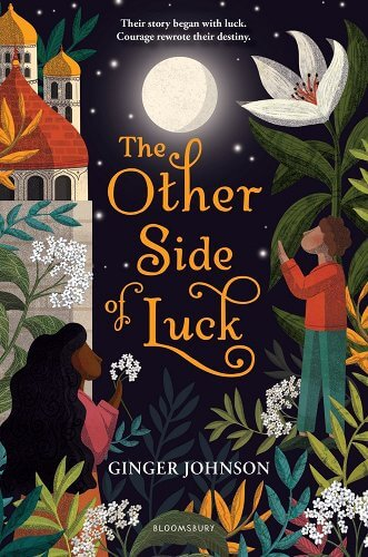 Cover of The Other Side of Luck by Ginger Johnson, showing a boy and girl in the jungle looking towards the full moon