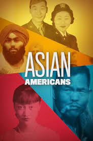 Poster for the PBS documentary series Asian Americans, showing five Asian Americans of different ethnicities in different colours.