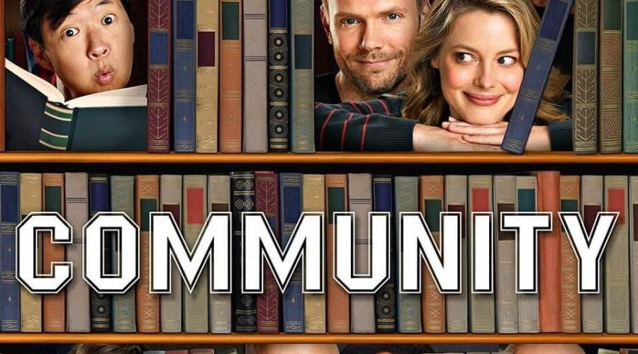 Poster for TV show Community, showing people of different ethnicities through a bookshelf