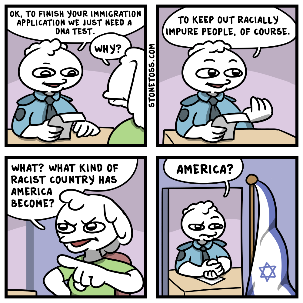 comic about DNA tests for Israeli citizenship.