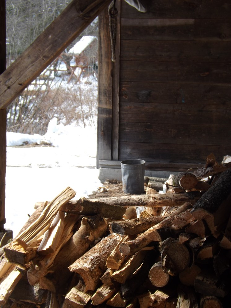 In our sugar shack, students see how much wood it takes to run the evaporator.
