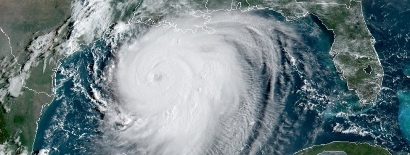 This satellite image from the National Hurricane center shows Hurricane Laura approaching the Texas and Louisiana coast on August 26, 2020.