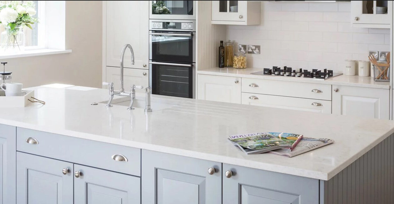 white quartz countertop on a kitchen island