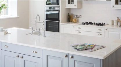 white quartz countertop on a kitchen island