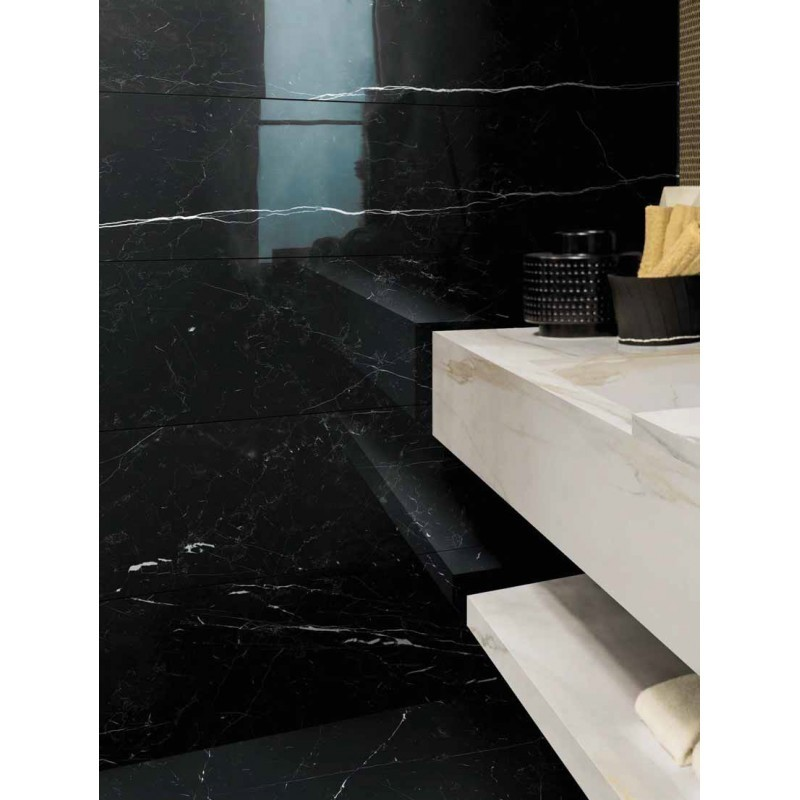 Buy Nero Marquina Porcelain Marble Tile