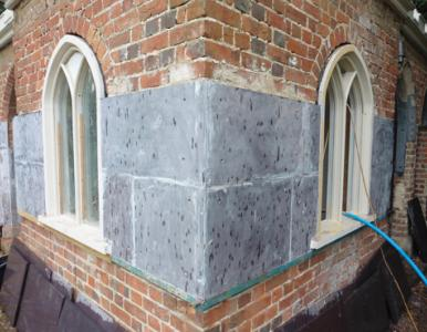 The cream of Welsh slates used to re-clad the walls of Cobham Dairy