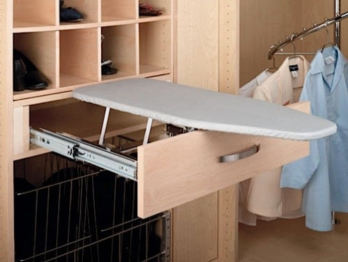 Functional built in ironing board