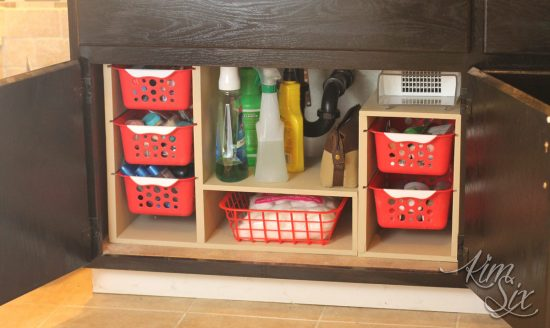 organize bathroom cleaning supplies