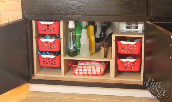 organize bathroom cleaning supplies