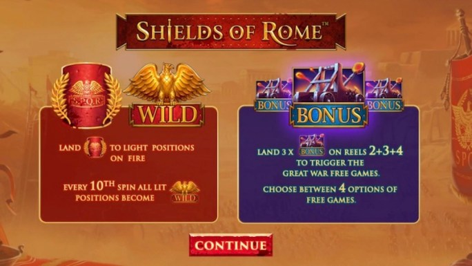shields of rome slot rules