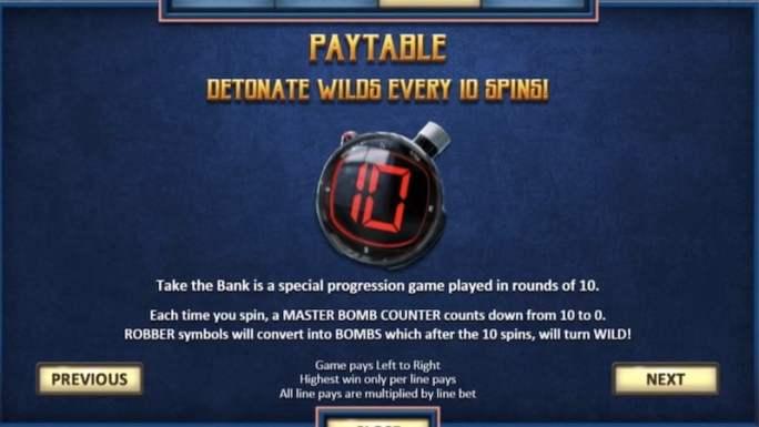 take the bank slot rules